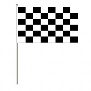Black and White Checkered Large Hand Flag.